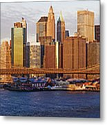 Lower Manhattan And The Brooklyn Bridge Metal Print by Jeremy Woodhouse