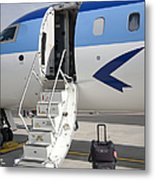 Luggage Near Airplane Steps Metal Print