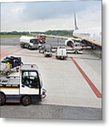 Luggage Transported To An Airprot Metal Print
