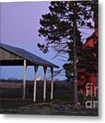 Lunar Eclipse At The Farm Metal Print