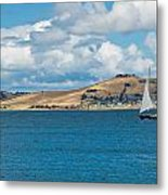 Luxury Yacht Sails In Blue Waters Along A Summer Coast Line Metal Print