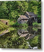 Mabry Mill And Pond With Reflection Metal Print