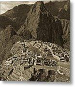 Machu Picchu Sepia Metal Print