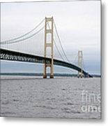 Mackinac Bridge From Water 2 Metal Print