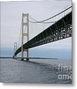Mackinac Bridge From Water Metal Print