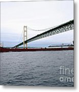 Mackinac Bridge With Ship Metal Print