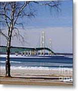 Mackinac Bridge With Trees Metal Print