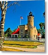 Mackinac Point Light Metal Print