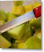 Macro Photo Of Knife Over Bowl Of Cut Musk Melon Metal Print