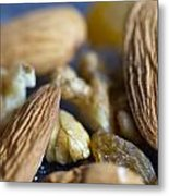 Macro Shots Of Various Dry Fruit Items Such As Almonds And Walnuts And Raisins Metal Print
