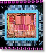 Macrophoto Of An 486 Computer Silicon Chip Metal Print
