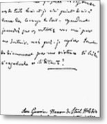 Madame De Stael Letter Metal Print