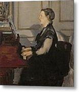 Madame Manet At The Piano Metal Print