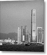 Madeira Hydrofoil Macau Ferry Speeds Towards Kowloon Skyline Hong Kong Hksar China Asia Metal Print by Joe Fox