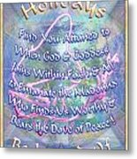 Madonna Dove And Chalice Vortex Over The World Holiday Art I With Text Metal Print