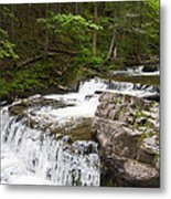 Maggies Falls Lower Through A Green Forest Metal Print
