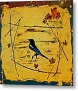 Magpie Framed In Maple Metal Print by Carolyn Doe