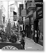 Maiden Lane San Francisco California - 5d19376 - Black And White Metal Print by Wingsdomain Art and Photography