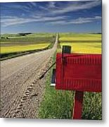 Mailbox On Country Road, Tiger Hills Metal Print