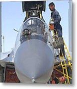 Maintainers Prepare A Sukhoi Su-30 Metal Print