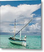 Maldivian Boat Dhoni On The Peaceful Water Of The Blue Lagoon Metal Print