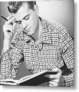 Male Student Reading, (b&w), Metal Print by George Marks