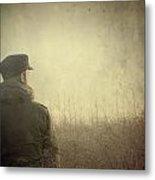 Man Alone In Autumn Field Metal Print
