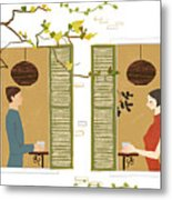 Man And Woman Drinking Coffee View From Window Metal Print