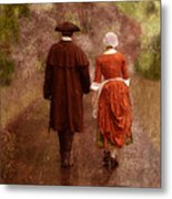 Man And Woman In 18th Century Clothing Walking Metal Print