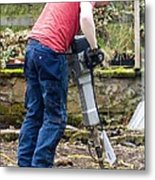 Man Breaking Concrete With A Jack Hammer. Metal Print by Mark Williamson