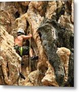 Man Climbing Rock Metal Print by Ulrike Maier