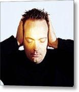 Man Covering His Ears Metal Print