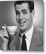 Man Drinking Coffee Metal Print by George Marks