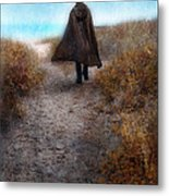 Man In Cape And Top Hat By The Sea Metal Print