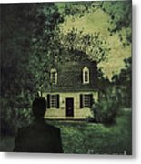 Man In Front Of Cottage Metal Print