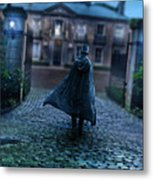Man In Top Hat And Cape On Cobblestone Street Metal Print