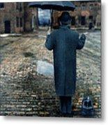 Man In Vintage Clothing With Umbrella On Rainy Brick Street Metal Print