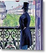 Man On A Balcony On Boulevard Haussmann Metal Print