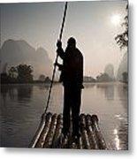 Man On Raft In Mountain Area Yulong Metal Print
