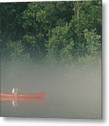 Man Paddling Canoe In Mist, Roanoke Metal Print