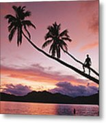 Man, Palm Trees, And Bather Silhouetted Metal Print