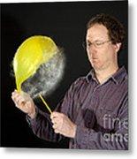 Man Popping A Balloon Metal Print