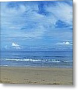 Man Riding A Pony On The Beach Metal Print