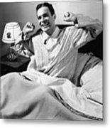 Man Stretching In Bed, (b&w), Metal Print