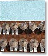 Man Swimming In Pool By Sunloungers Metal Print