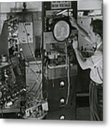 Man Testing Early Television Equipment Metal Print
