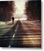 Man Walking On A Rural Winter Road Metal Print