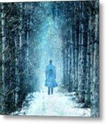 Man Walking Through Snowy Woods Metal Print