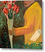 Man With Flowers  Metal Print