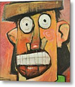 Man With Terracotta Hat And Green Shirt Metal Print
